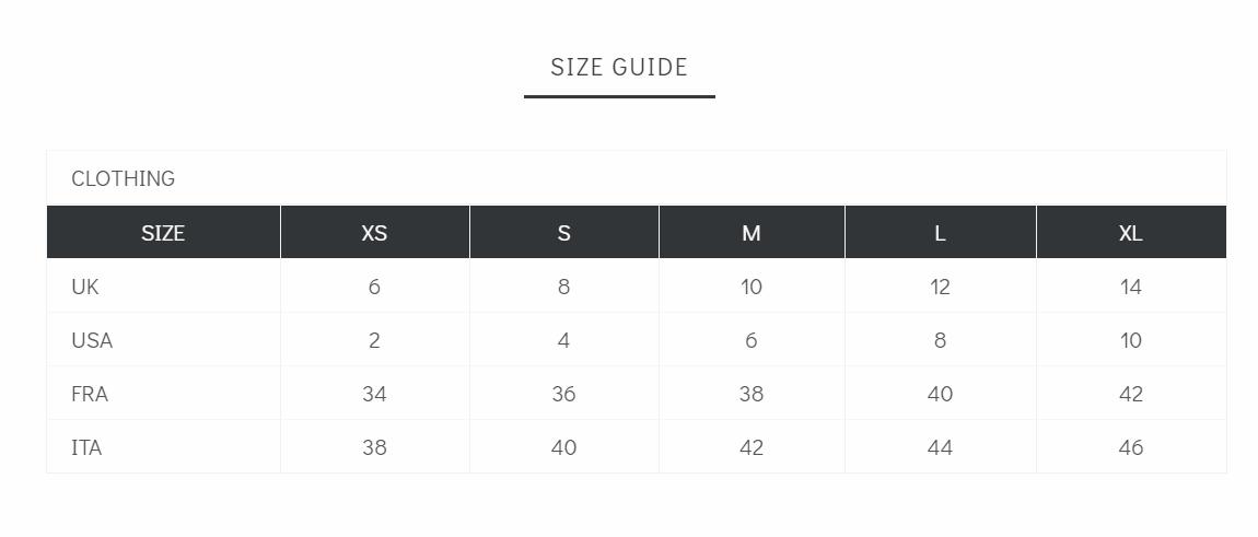 Women's Cloth size chart